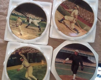 Set Of 4 The Legends Of Baseball Plates With 22k Gold Rims Limited Editions/ Delphi Original Collectable Plates.