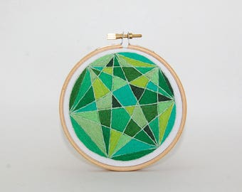 green abstract stained glass hand embroidered wall hanging