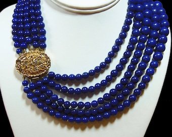 Five Strand 1950s, Royal Blue Beaded Necklace (2860)