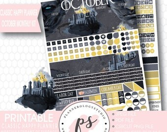 Game of Thrones (GOT) October 2017 Monthly View Kit Printable Planner Stickers (Classic Happy Planner) | JPG/PDF/Silhouette Cut File