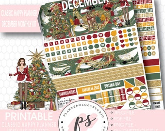 Mistletoe Christmas December Monthly View Kit Printable Planner Stickers (for Classic Happy Planner) | JPG/PDF/Silhouette Cut File