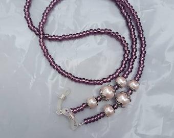 Beaded eyeglass chain lavender