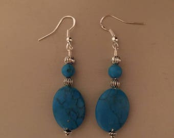 Natural turquoise & Silver earrings