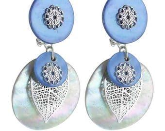 One blue clip earrings