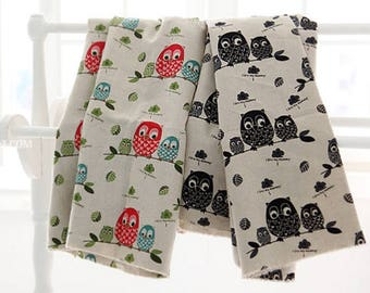 """Owls Patterned Linen Cotton Fabric made in Korea 45cm by 145cm or 18"""" by 57"""" by the Half Yard"""