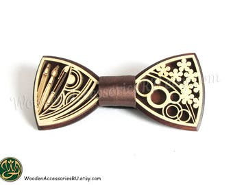Wood bow tie Art artist drawing flowers brush pencil pen lines circles pattern graphics wooden bowtie