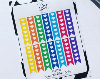 Heart Checklist - Colors - Planner Stickers