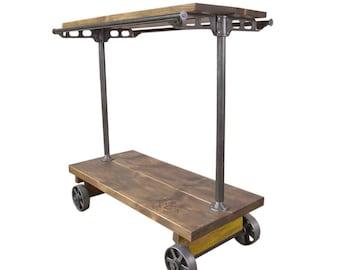 Retail Garment Rolling Rack Cart on Castors Cast Iron and Wood