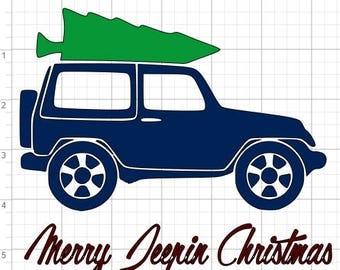 2 Merry Jeepin Christmas Designs SVG PDF EPS Dxf & Studio 3 Cut Files
