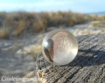 Feather glass cabochon ring, gift celebrating the grand mothers, Easter