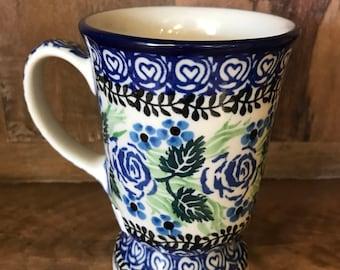 Polish Pottery Pedestal Mug Blue Rose