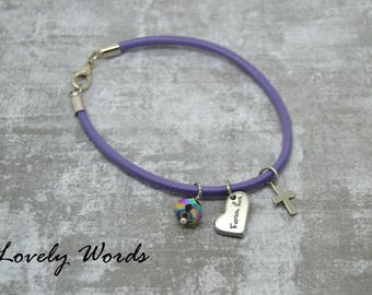 women Purple Leather FOREVER LOVE bracelet