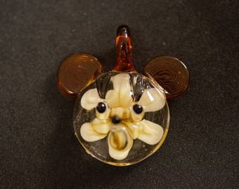 Glass mouse head pendant