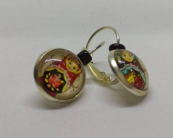 Earrings Silver 925 cabochon, matryoshka, Russian dolls