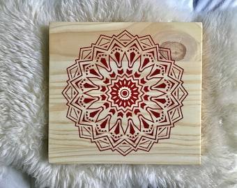 Wood Wall Art, Mandala Painting, Red Mandala Art, Lace Mandala, Yoga Mandala, Mandala Wall Decor, Mandala Home Decor, Boho Mandala, Zen Art