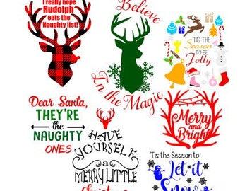 Christmas SVG bundle / Christmas deer bundle / Christmas craft bundle / Holiday clip art bundle / Holiday svg / Buffalo Plaid svg / deer svg