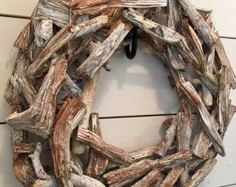 Wood wreath, wooden wreath, rustic wreath, primitive wreath, door wreath, wall wreath, farmhouse wreath, primitive decor, driftwood wreath