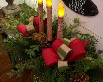 Christmas centerpiece, Christmas table decor, holiday table arrangement, Christmas arrangement, candle centerpiece, farmhouse Christmas
