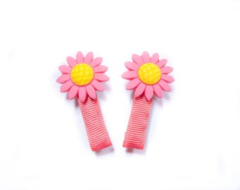 Lovely daisy hair clips; pigtail clips; baby hair accessories;small hair clips; daisy flowers