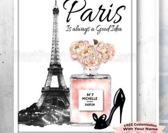 Paris is always a good idea Wall Art, Chanel Paris Print, Chanel Paris Art, Paris Printables, Chanel Download, Parisian Decor, Parisian Art