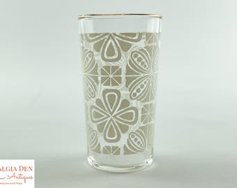 Federal Glass Tumblers | White and Gold 10 Oz MCM Drinking Glasses - Set Of 8