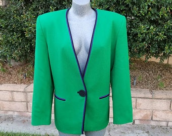 Vintage Blazer, Kasper for A.S.L. Kelly Green, Single Breasted, Office Wear, Holiday, Fall Fashion, Size 16