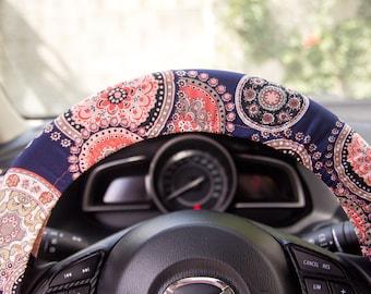 Steering wheel cover, Handmade car accessories, Multicolor car wheel cover, auto decor, Trendy automobile accessories