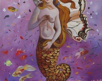 Metamorphosis, Portrait of a Mermaid, Original oil painting by Anne Zamo
