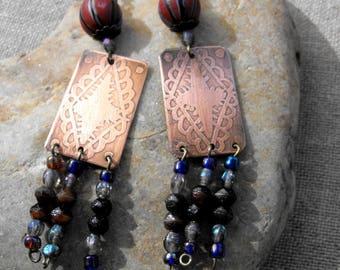 Ethnic engraved brass earrings