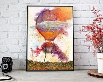 Balloon Watercolor, Balloon Painting, Balloon Art, Balloon Wall Art, Balloon Art Print, Balloon Wall Art Print, Contemporary Art, Watercolor