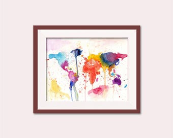 World Map Watercolor, World Map Art, World Map Painting, Printable World Map, Painting of World Map, World Map Print, World Map Artwork