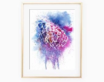 Abstract Balloon Painting, Balloon Watercolor, Balloon Wall Decor, Balloon Poster, Abstract Balloons, Contemporary Art, Art print