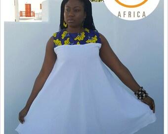 Ankara Dress/ African Dress/ African print Dress /White Dress