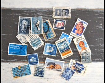 Vintage Cancelled Used Postage Stamps - Blue US Stamps - 1920's - 1980's