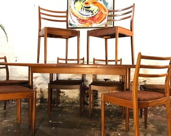 Now SOLD. Sorry. G Plan Fresco Dining Table and 8 Ladderback Chairs Retro Vintage Mid-Century