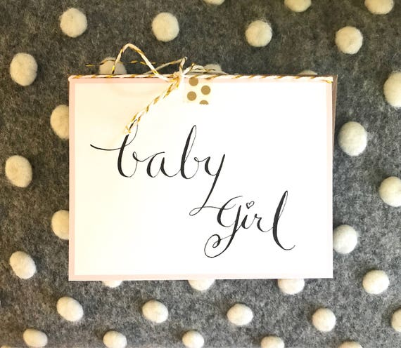 CUSTOM CALLIGRAPHY Baby Note Card / Personalized/Message Choices/Great for Baby Showers / to Welcome a New Baby