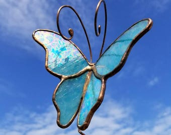 Aqua Turquoise iridized stained glass Butterfly garden stake garden marker plant poke in antique copper narrow wings handmade