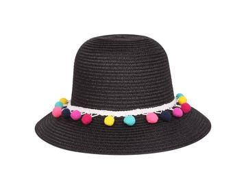 Cloche Sun Hat with Multicolored Pom Pom Band Straw Hat, Black or White