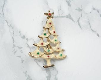 Vintage Brosche verschneiter, geschmückter Weihnachtsbaum mit Emaille und Glitzer // Tannenbaumanstecker //Weihnachtsbrosche //