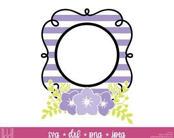 2 Spring Monogram svg - Spring svg - Flower Monogram svg - Striped svg - Monogram Frame svg - Circle Monogram svg - Spring svg files