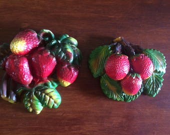 Vintage Chalk fruit, Strawberry Chalk Fruit, Kitchen Decor, Home and Living, Art and Collectibles,