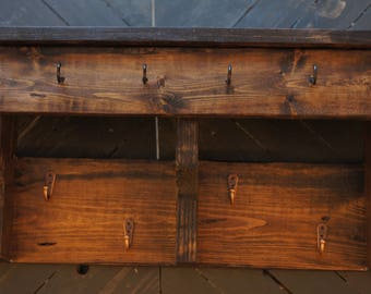 Wood 4 Hanger, 4 Hook Coat and Key Rack and Shelf