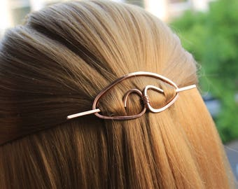 Copper Hair Clip Hair Stick Metal Hair Slide Hair Barrette Minimalist Hair Pin Hammered Hair Jewelry Hair Accessories Women Gift for Her