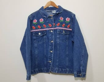 Vtg 90s Floral Embroidered Jean Jacket by Bill Blass Jeans | Vintage Retro Denim Roses Flowers | Womens Large | TUFF