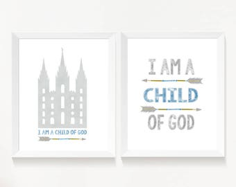Set of 2 print, I am a child of God, lds Temple, Instant Download Printable LDS Gift Art print Boy room decor, blue and grey, arrows