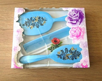 Vintage Vanity Set Boxed Floral Blue Dressing Table Set Floral Vanity Set Debutante Hand Mirror, Brush, Comb