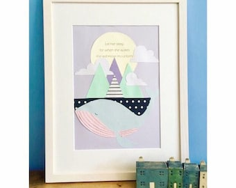 Let her sleep for when she wakes she will move mountains - framed illustration