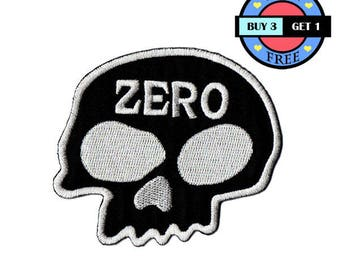 Black Head Zero Skull Bone Embroidered Iron On Patch Heat Seal Applique Sew On Patches