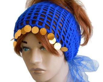 Knit headband, Winter headband, Knitted headband, Knit ear Warmer, Turband headband, Women's Knit headband, Blue headband, Hair accessories