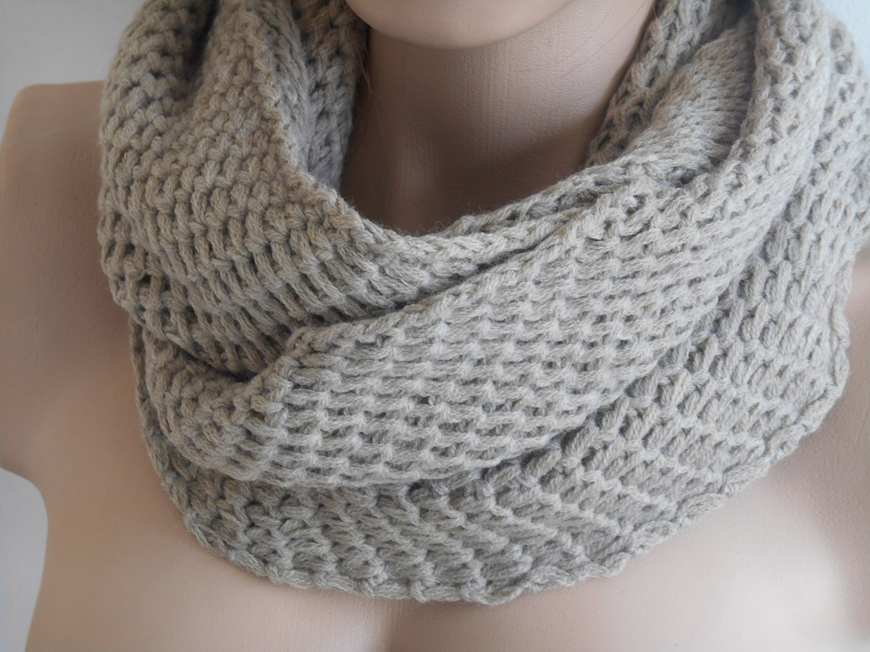 Knitting Loop Scarf : Beige men scarf chunky knitted male loop